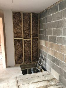 100mm Internal partition walls filled with insulation to reduce noise transmission.